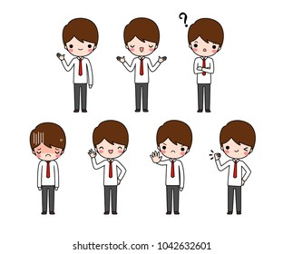 Vector set of character cartoon young businessman in white long sleeve shirt and red necktie with different expression. Isolated on white background. Flat design. Vector illustration.