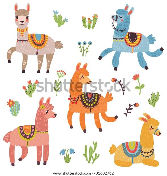 Vector set of characters. 5 Cute Lamas