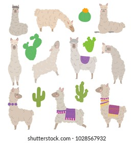 Vector set characters of cute llamas. Hand drawn style alpaca illustration for card, posters, invitations, children room, mexican decoration