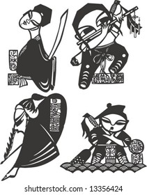Vector set of characters in a famous Classic Chinese Novel, Tale of Water Margin