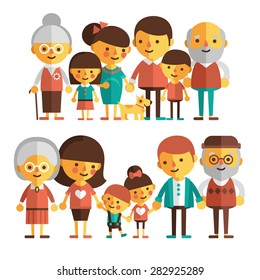 Vector set of characters in a flat style. The family - grandfather, grandmother, mom, dad, kids. Two happy families in a flat style.