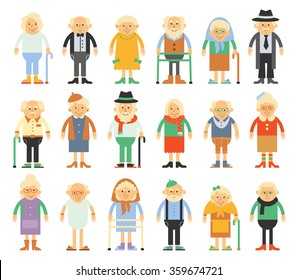 Vector set of characters in a flat style. Older people in different costumes.