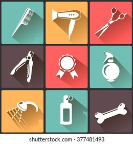 Vector set of characters in a flat style.  The main tools which are used in the beauty salon for animals. Dog grooming icons set.