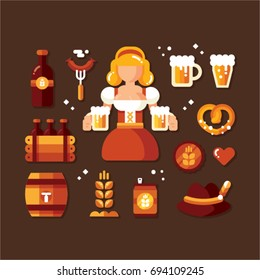 Vector set of characters and icons in a flat style Oktoberfest. Girl in folk costumes. Set of beer mugs, barrel, bottle, and other attributes of the Oktoberfest.