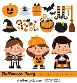 Vector set of characters and icons for Halloween in cartoon style. Pumpkin, ghost, candy, witches cauldron and other traditional elements of Halloween. Children in costumes for Halloween.