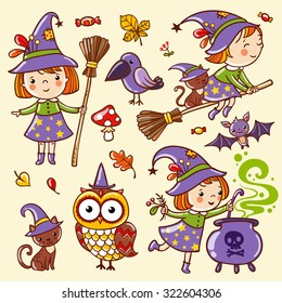 Vector set of characters and icons for Halloween in cartoon style. Cute witch, owl, cat.
