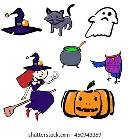 Vector set of characters and icons for Halloween in cartoon style. Pumpkin, ghost, candy, witches cauldron and other traditional elements of Halloween.