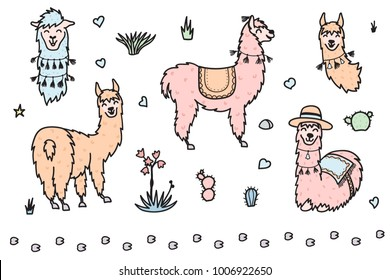 Vector set of characters. Illustration of south America cute lama with decorations. Isolated outline cartoon baby llama. Hand drawn Peru animal guanaco, alpaca, vicuna. Drawing for print, fabric