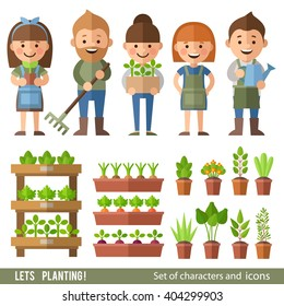 Vector set of characters and objects garden and orchard. Boys and girls work in the garden. Plants in pots and beds.