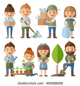 Vector set of characters on environmental issues. Boys and girls  planted and watered trees, grow flowers. Boys and girls are cleaned from garbage nature.
