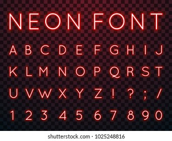 Vector set of characters in retro style. Neon font. Alphabet with glow effect. The letters and numbers in the style of techno.