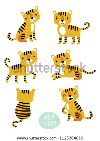 Vector set of characters. Tigers