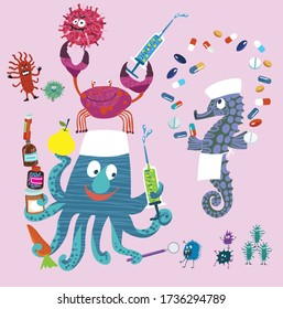 Vector set of characters for your design. Cheerful marine doctors. Funny crab and octopus with pills and syringe fight viruses. Seahorse juggles pills.
