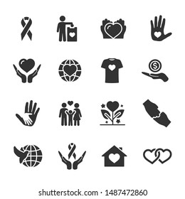 Vector set of charity, donation, peace icons.