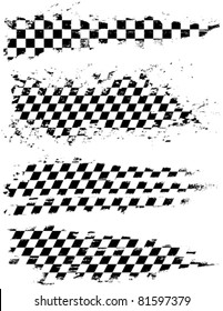 Vector set of checkered racing splatters.