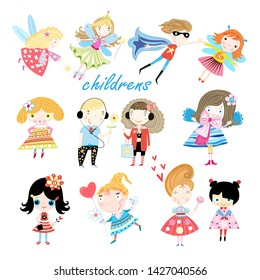 Vector set of cheerful little children on white background