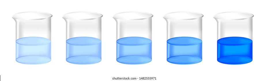 Vector set of chemical beakers with different concentration of blue substance solution. Color gradient from light to dark.  Full laboratory glassware with calibration standard preparation isolated.