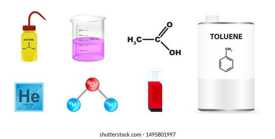 Vector set of chemical icons. Plastic yellow wash bottle, beaker, quartz glass cuvette, ball-and-stick water molecule, metal container can with toluene, acetic acid and helium from the periodic table.