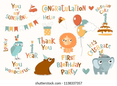vector set for child birthday. first birthday cute animals: cartoon mouse, elephant, owl. festive cake, flags, gifts, motivational phrases: you are beautiful, the first birthday party, congratulations
