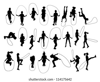 Vector Set of children shapes jumping rope