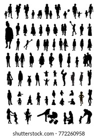 Vector set of children silhouettes