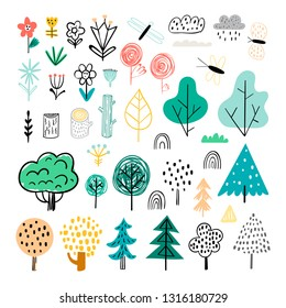 Vector set of children's drawings - cute forest and plants. Doodle style. Ideal for childs decoration. Forest set