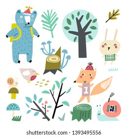 Vector set of children's drawings - cute forest and animals. Doodle style. Ideal for childs decoration. Forest set
