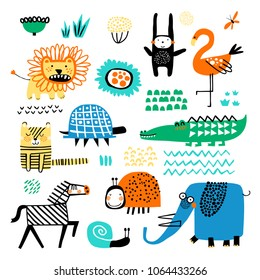 Vector set of children's drawings - exotic animals and plants. Doodle style. Ideal for childs decoration. African set