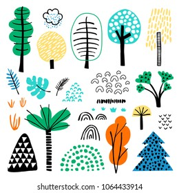 Vector set of children's drawings - exotic trees and other plants. Doodle style. Ideal for childs decoration. Forest set.