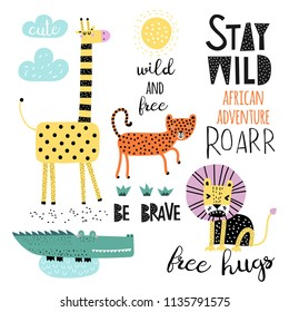 Vector set of children's drawings - exotic animals. Doodle style. Ideal for childs decoration. African set. Slogan set