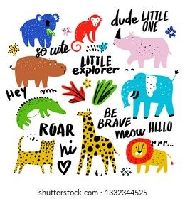 Vector set of children's drawings - exotic animals, plants and lettering. Doodle style. Ideal for childs decoration. African set