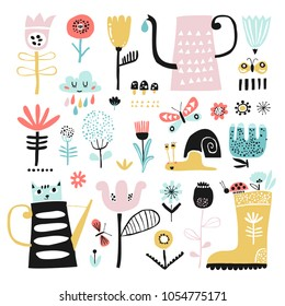 Vector set of children's drawings - flowers, butterflies, watering can, kitten and other elements. Childish style.