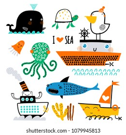Vector set of children's drawings - sea life, underwater monsters, whale, shark and ship. Sea trip. Doodle style.