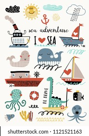 Vector set of children's drawings - sea life, underwater monsters, dino, clouds and ship. Sea trip. Doodle style.