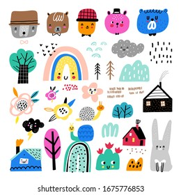 Vector set of children's drawings - trees, hills, bears, rainbows and other elements. Doodle style. Ideal for baby decoration. Nature collection.