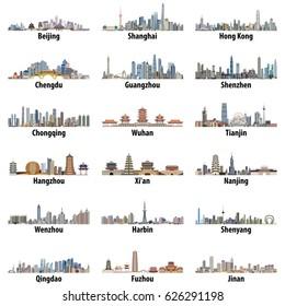 Vektorset der größten chinesischen Skylines