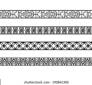 Vector set of chinese seamless ornament lines