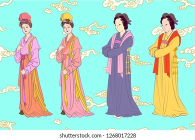 vector set for Chinese women of Song dynasty