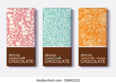 Vector Set Of Chocolate Bar Package Designs With Vintage Floral Patterns. Milk, Dark, Almond. Editable Packaging Template Collection.