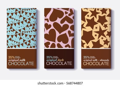Vector Set Of Chocolate Bar Package Designs With Flags, Heartsm Stars Patterns. Milk, Dark, Almond. Editable Packaging Template Collection.