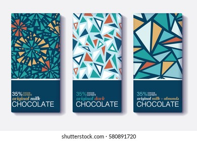 Vector Set Of Chocolate Bar Package Designs With Vintage Geometric Mosaic Patterns. Editable Packaging Template Collection.