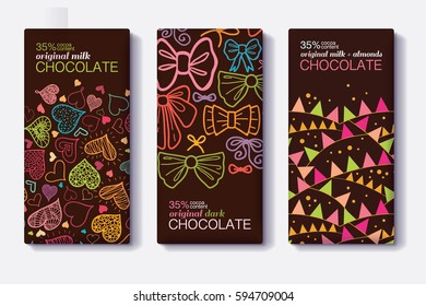 Vector Set Of Chocolate Bar Package Designs With Fun Party Decor Hearts, Bows, Flags Patterns. Milk, Dark, Almond. Editable Packaging Template Collection.