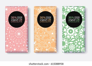 Vector Set Of Chocolate Bar Package Designs With Pastel Geometric Patterns. Editable Packaging Template Collection.