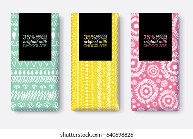 Vector Set Of Chocolate Bar Package Designs With Modern Vibrant Tribal Ikat Patterns. Rectangle frame. Editable Packaging Template Collection.