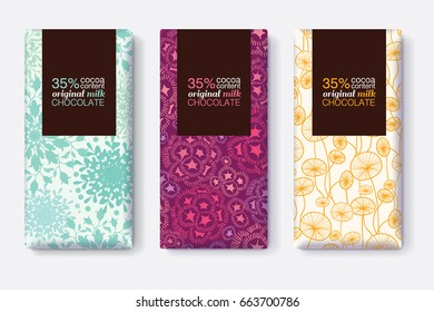 Vector Set Of Chocolate Bar Package Designs With Modern Pastel Floral Patterns. Rectangle frame. Editable Packaging Template Collection.