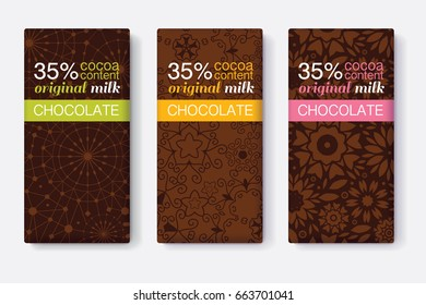 Vector Set Of Chocolate Bar Package Designs With Abstract Brown Geometric Patterns. Pastel Stripe Frame. Editable Packaging Template Collection.