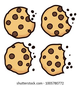 vector set of chocolate chip bitten cookies isolated on white background. symbols of homemade biscuit choc cookie with a bite and crumbs. top view of flat cookie clipart collection
