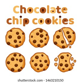 vector set of chocolate chip whole, broken and bitten cookies isolated on white background. symbols of homemade biscuit choc cookie with a bite and crumbs. top view of flat cookie clipart collection