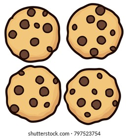 vector set of chocolate chip whole cookies isolated on white background. homemade biscuit choc cookie symbol collection. top view of flat cookie clipart
