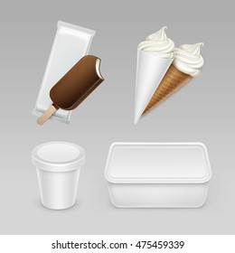 Vector set of Chocolate Popsicle Choc-ice Lollipop Soft Serve Ice Cream Waffle Cone with Plastic White Wrapper and Box Container for Package Design Mock up Close up Isolated on Background